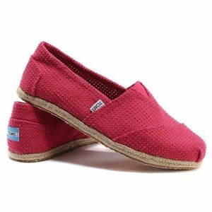 Toms Perforated Red Slip On Classics